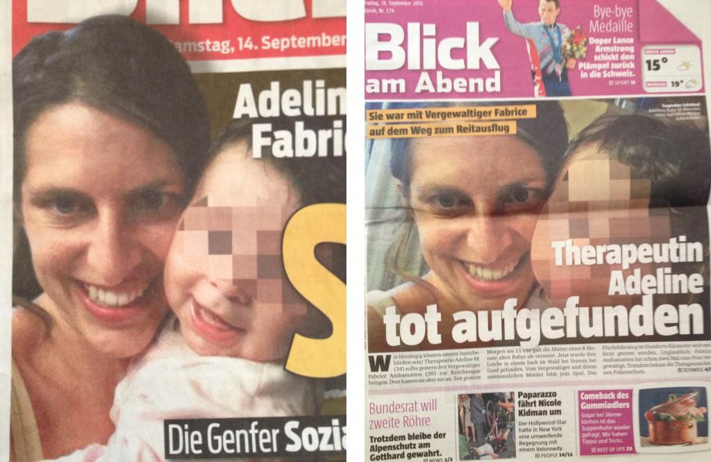 """Adeline M. und ihr Baby. Sie unverpixelt, das Baby im """"Blick"""" teilweise verpixelt, im """"Blick am Abend"""" komplett verpixelt."""